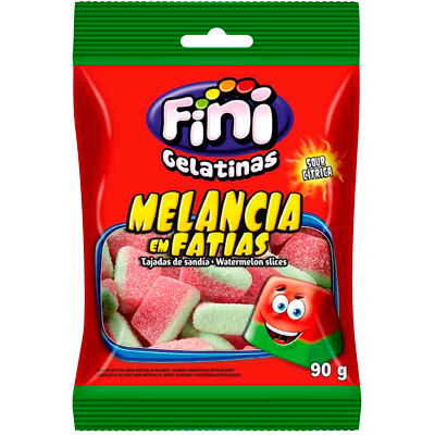 Bala sabor melancia 90g Fini Fatias pacote PCT