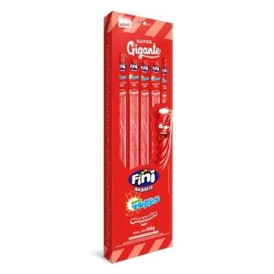 Bala sabor Morango Super Gigante 24 unidades de 27g Fini/Tubes display UN