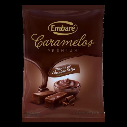 Bala sabor mousse chocolate belga 600g Embaré/ Caramelos Premium pacote PCT