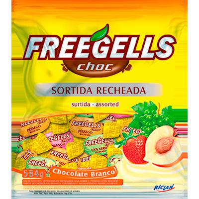 Bala sabor sortido com recheio de chocolate branco 584g Freegells pacote PCT