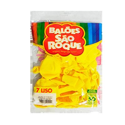 Balão amarelo citrino 50 unidades São Roque pacote PCT
