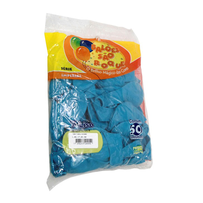 Balão Liso Azul Claro nº7 50 unidades São Roque pacote PCT