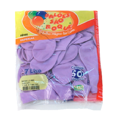 Balão lilás 50 unidades São Roque pacote PCT