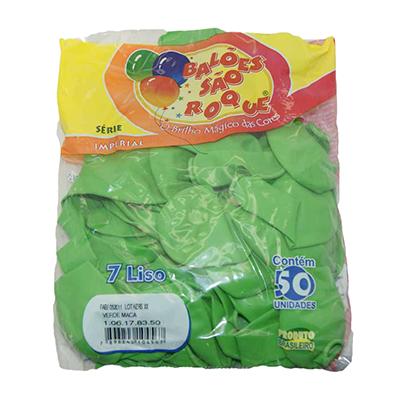 Balão maçã verde 50 unidades São Roque pacote PCT