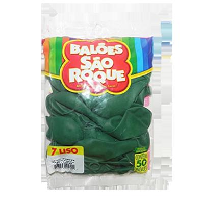 Balão verde folha 50 unidades São Roque pacote PCT