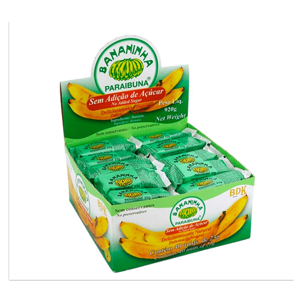 Bananinha sem açúcar 40 unidades de 23g Paraibuna caixa CX