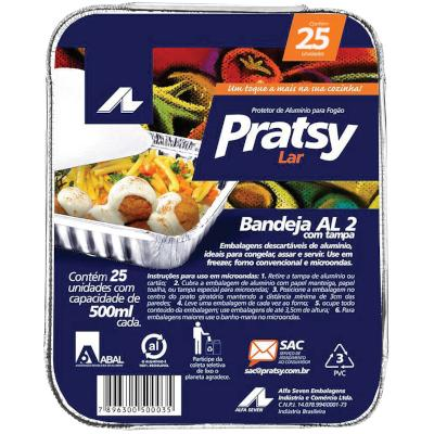 Bandeja de Alumínio Al-2 500ml 25 unidades Pratsy caixa UN