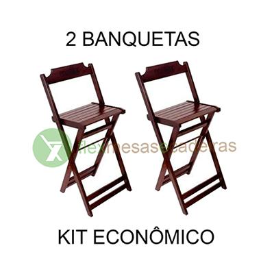 Banqueta 02 banquetas dobráveis kit Flex mesas e cadeiras 02 banquetas UN