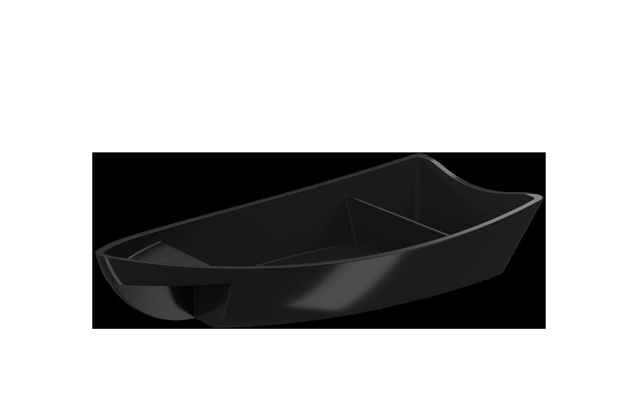 Barco para Sushi Preto 27,9x13,6x5,1 Polipropileno (PP) unidade Coza  UN