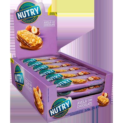 Barra de Cereais Avelã e Chocolate 24 unidades de 22g Nutry caixa CX