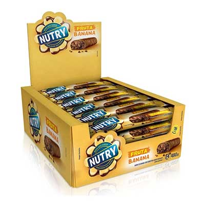 Barra de Cereais Banana e Chocolate 24 unidades de 20g Nutry caixa CX