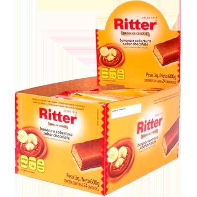 Barra de Cereais Banana e Chocolate 24 unidades de 25g Ritter caixa CX