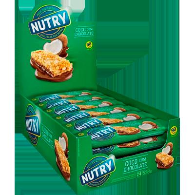 Barra de cereais coco e chocolate 24 unidades de 22g Nutry caixa CX