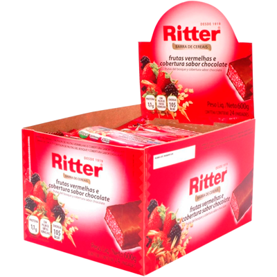 Barra de Cereais Frutas Vermelhas 24 unidades de 25g Ritter caixa CX
