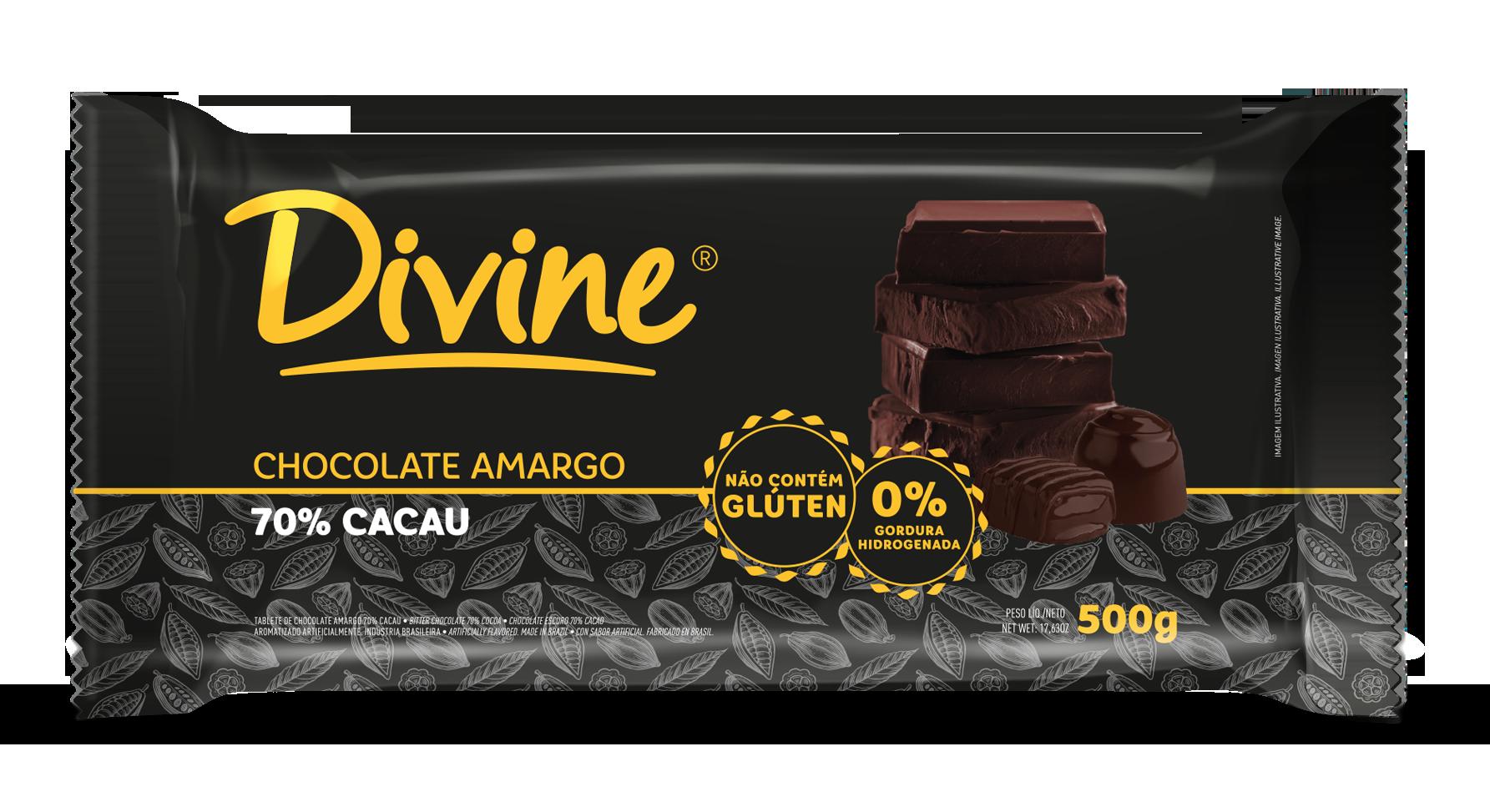 Barra de chocolate 70% cacau 500g Divine  UN