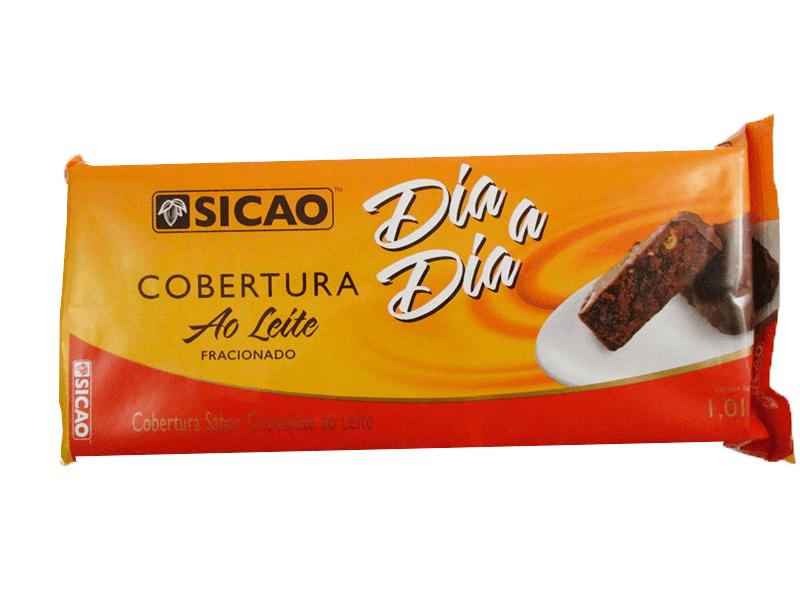 Barra de chocolate ao leite 1,01kg Sicao Dia a Dia  UN