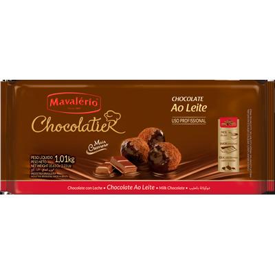 Barra de chocolate ao leite 1kg Mavalerio  UN