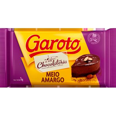 Barra de Chocolate Cobertura Meio Amargo 1kg Garoto  UN