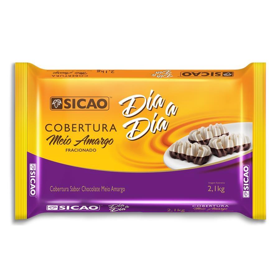 Barra de chocolate meio amargo 2,05kg Sicao Dia a Dia  UN