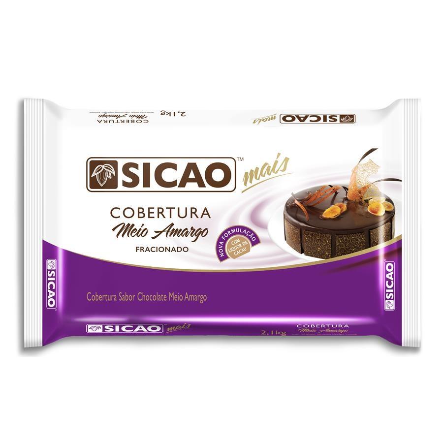 Barra de chocolate meio amargo 2,05kg Sicao Mais  UN