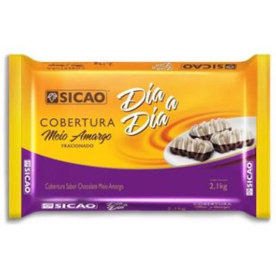 Barra de chocolate ao Leite Meio Amargo Blend 2,1kg Sicao Dia a Dia  UN