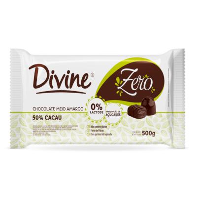 Barra de chocolate zero 50% cacau 500g Divine  UN