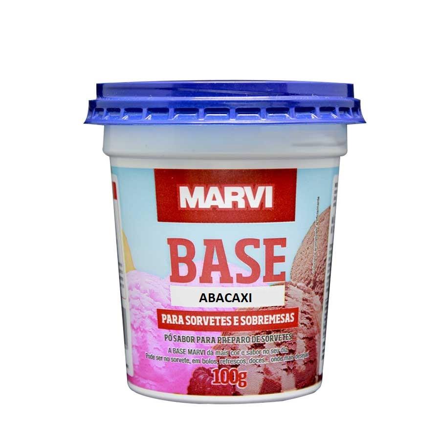 Base para sorvete sabor abacaxi 100g Marvi pote UN