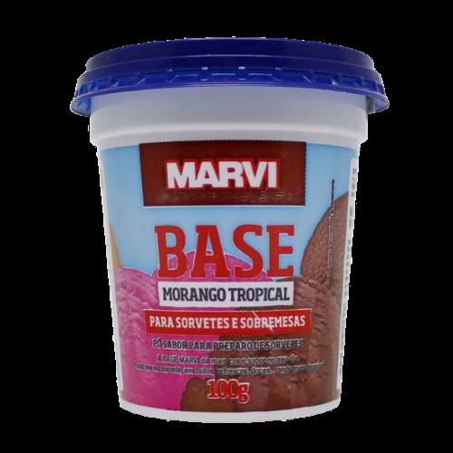 Base para sorvete sabor morango tropical 100g Marvi pote UN