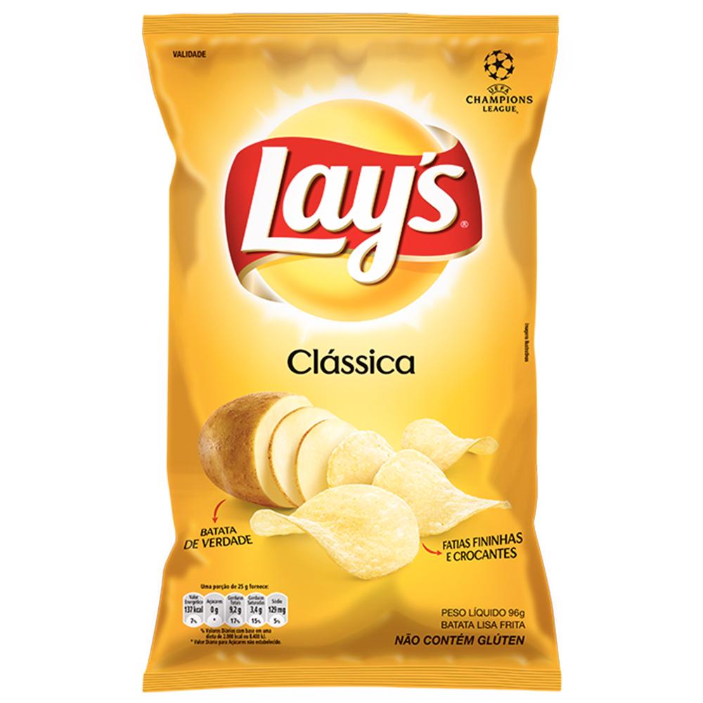 Batata Chips Clássica 96g Lays pacote PCT