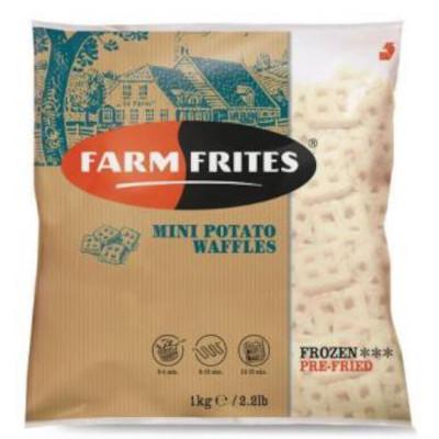 Batata Mini Waffle congelada 1,1kg Farm Frites pacote PCT