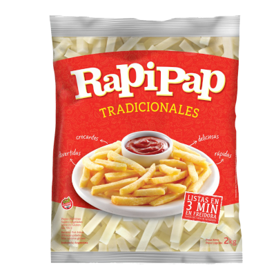 Batata Palito tradicional congelada 2kg Rapipap pacote PCT