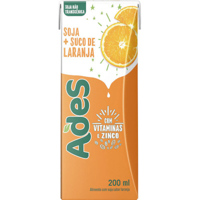 Bebida a base de soja sabor laranja 200ml Ades Tetra Pak UN