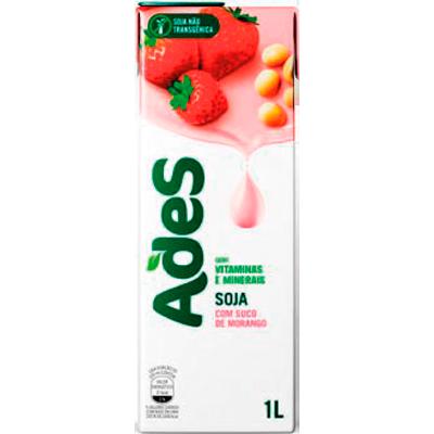 Bebida a base de soja sabor morango 1Litro Ades Tetra Pak UN