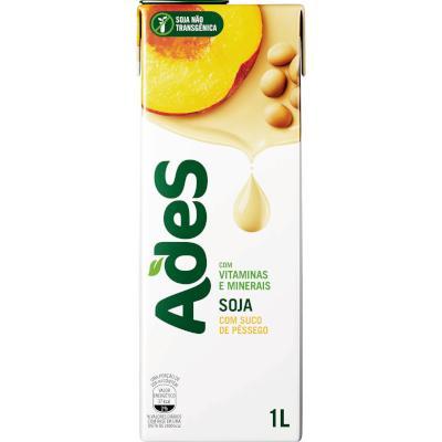 Bebida a base de soja sabor pêssego 1Litro Ades tetra pak UN