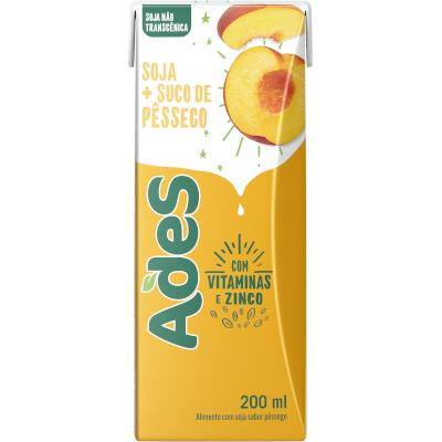 Bebida a base de soja sabor pêssego 200ml Ades tetra pak UN