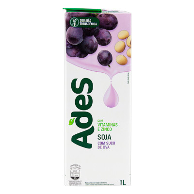 Bebida a base de soja sabor uva 1Litro Ades Tetra Pak UN