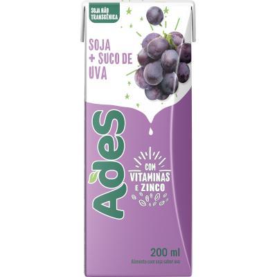 Bebida a base de soja sabor uva 200ml Ades tetra pak UN