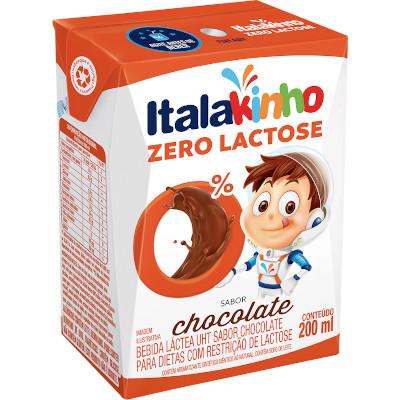 Bebida láctea sabor chocolate zero lactose 200ml Italac  UN