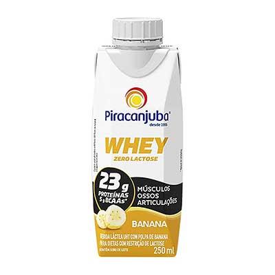 Bebida láctea zero lactose whey banana 250ml Piracanjuba Tetra Pak UN