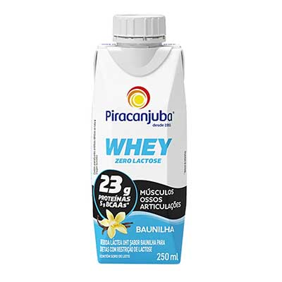 Bebida láctea zero lactose whey baunilha 250ml Piracanjuba Tetra Pak UN