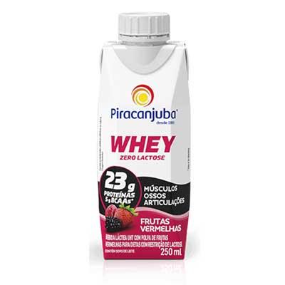Bebida láctea zero lactose whey frutas vermelhas 250ml Piracanjuba Tetra Pak UN