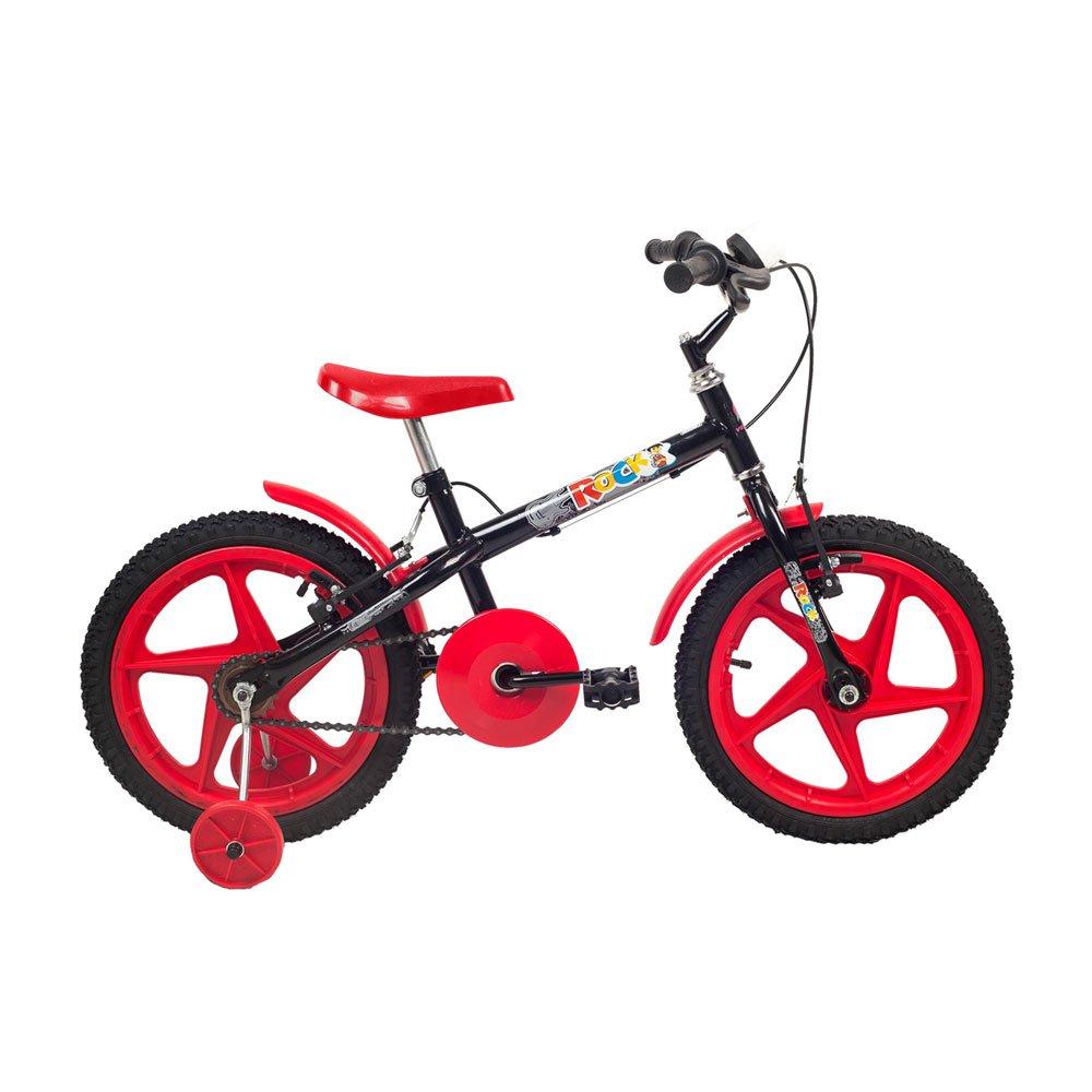 Bicicleta Infantil Aro 16 Rock Preta e Vermelha unidade Verden  UN