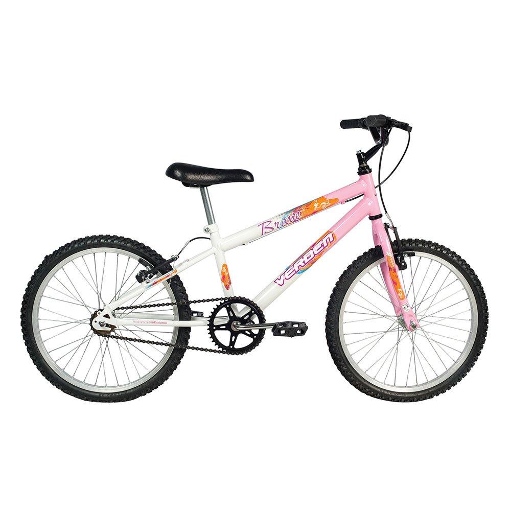 Bicicleta Infantil Aro 20 Brave Branca e Rosa unidade Verden  UN