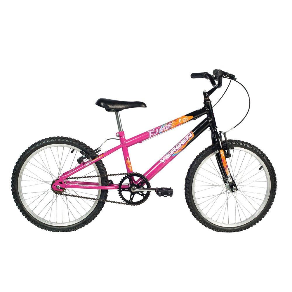 Bicicleta Infantil Aro 20 Brave Preta e Rosa unidade Verden  UN