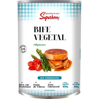 Bife vegetal à base de proteína de soja 400g Superbom lata UN