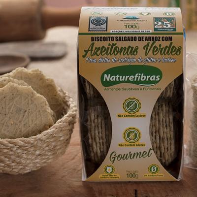 Biscoito de arroz com azeitonas verdes sem glúten e sem lactose 100g Naturefibras pacote UN