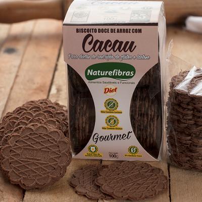 Biscoito de arroz com cacau diet sem glúten e sem lactose 100g Naturefibras pacote PCT