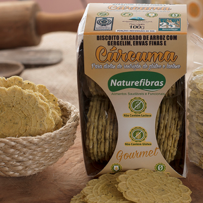 Biscoito de arroz com gergelim, ervas finas e cúrcuma sem glúten e sem lactose 100g Naturefibras pacote PCT