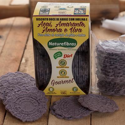 Biscoito de arroz com inulina e açaí, amaranto, amora e uva diet sem glúten e sem lactose 100g Naturefibras pacote PCT
