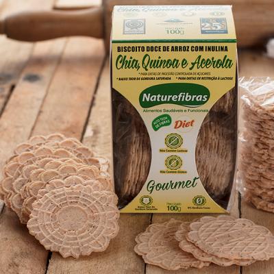 Biscoito de arroz com inulina e chia, quinoa e acerola diet sem glúten e sem lactose 100g Naturefibras pacote PCT